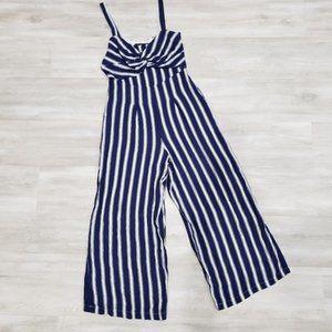 NEW Lumiere Striped Navy Wide Leg Jumpsuit size M